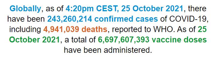 世卫组织:全球新冠肺炎确诊病例超2.4326亿例